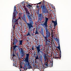 Soft Surroundings Paisley Flowy Button Down Top